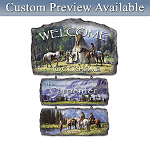 Martin Grelle Seasons Art Personalized Welcome Sign Display