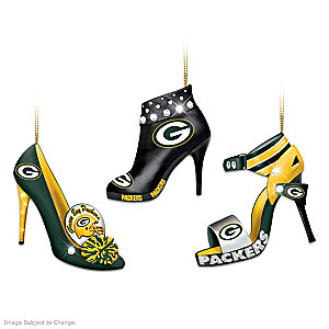 Green Bay Packers High Heel Shoe Ornament Collection