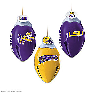 Football-Shaped LSU Tigers Jingle Bell Ornament Collection