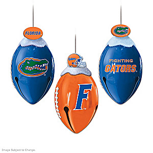 Football-Shaped Florida Gators Jingle Bell Ornaments