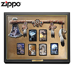 Al Agnew Wolf Art Zippo Lighters With Display Case