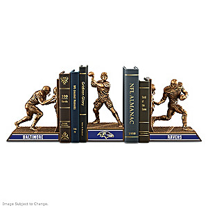 Baltimore Ravens Sculptural Bookends In Cold-Cast Bronze