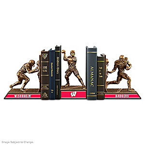 Wisconsin Badgers Sculptural Bookends In Cold-Cast Bronze