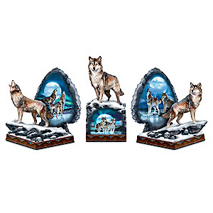"Al Agnew ""Sacred Wilderness"" Wolf Bookends Glow In The Dark"