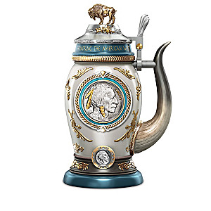 Genuine Buffalo Nickel Coin Porcelain Stein Collection