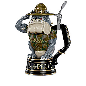 USMC Devil Dog Sculptural Porcelain Stein Collection