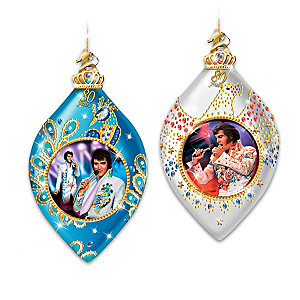 """Elvis """"Long Live The King"""" 80th Birthday Ornament Collection"""