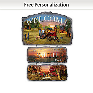"""Farmall Traditions"" Personalized Seasonal Welcome Sign"