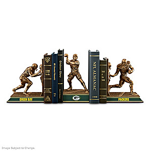 Green Bay Packers Sculptural Bookends In Cold-Cast Bronze