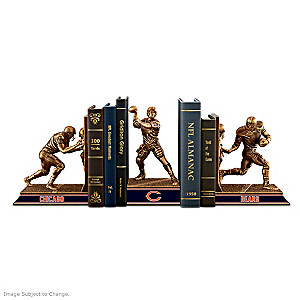 Chicago Bears Sculptural Bookends In Cold-Cast Bronze