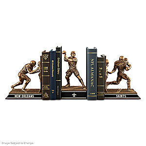 New Orleans Saints Sculptural Bookends in Cold-Cast Bronze