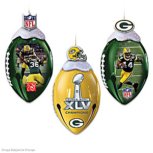 Officially Licensed Green Bay Packers Football Ornaments