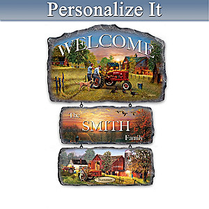 """""""Farmall Traditions"""" Personalized Seasonal Welcome Sign"""