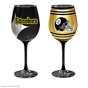 """Steelers """"Black And Gold"""" Wine Glass Collection"""