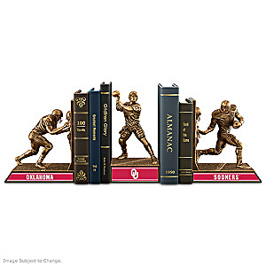 Oklahoma Sooners Sculptural Bookends In Cold-Cast Bronze