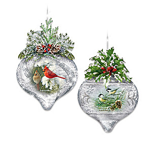 """Winter Wildlife"" Illuminated Glass Ornament Collection"