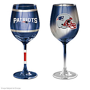 "Patriots ""Red, Blue And Silver"" Wine Glass Collection"