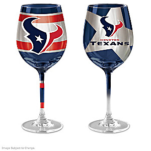 "Texans ""Red And Blue"" Wine Glass Collection"