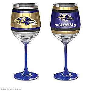 "Ravens ""Purple And Gold"" Wine Glass Collection"