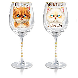 "Kayomi Harai ""Sassy Cat"" Wine Glass Collection"