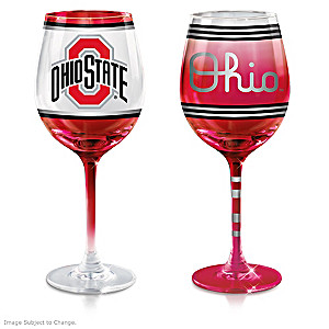 "Buckeyes ""Scarlet And Gray"" Wine Glass Collection"