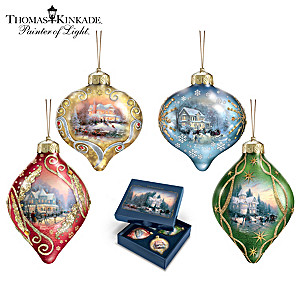 "Thomas Kinkade ""Light Up The Season"" Lighted Glass Ornaments"
