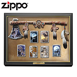 Al Agnew Wolf Art Zippo® Lighters With Display Case