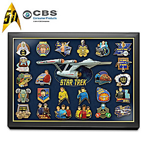 STAR TREK 24K Gold-Plated 50th Anniversary Pin Collection