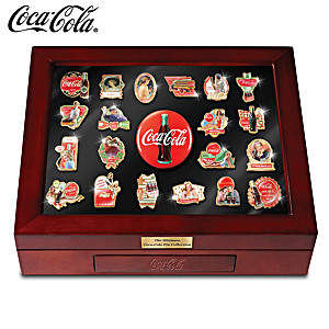 COCA-COLA Enameled Pin Collection With Custom Display Case