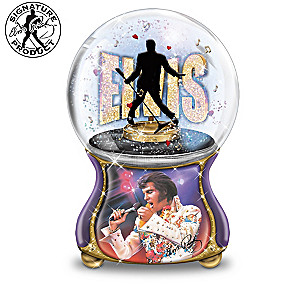Elvis Presley Burning Love Musical Glitter Globe Collection