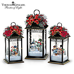 Thomas Kinkade Illuminated Snowman Lantern Collection