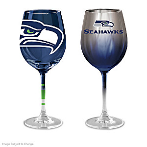 "Seahawks ""Green And Blue"" Wine Glass Collection"