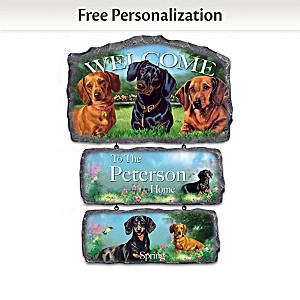 Linda Picken Dachshunds Personalized Welcome Sign Collection