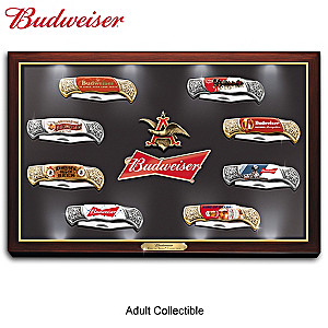 """Budweiser: The King Of Beers"" Knife Collection With Display"