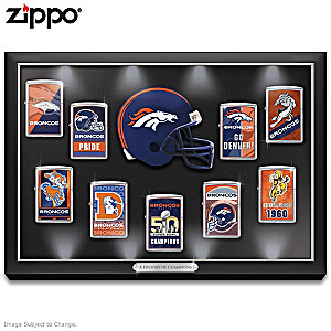 Denver Broncos Zippo® Collection With Lighted Display