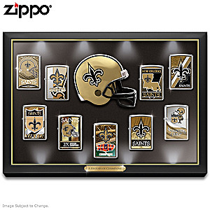 Saints Zippo® Lighter Collection And Lighted Display