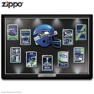 Seahawks Zippo® Lighter Collection With Lighted Display