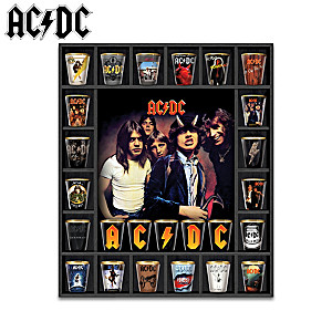 AC/DC Album Covers Shot Glass Collection With Display