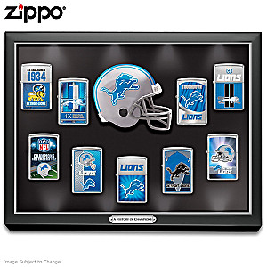 Detroit Lions Zippo® Collection With Lighted Display