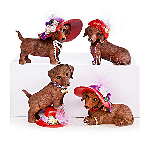 Dachshund Figurines With Chic Accessories And Real Feathers