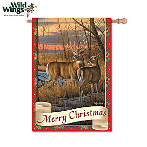 White-Tailed Deer Holiday Flags Featuring Wild Wings Artists