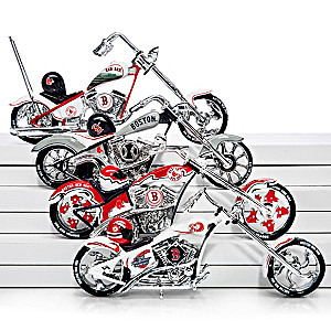 Boston Red Sox Motorcycle And Helmet Figurine Collection