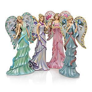 Angel Figurine Collection Adorned With Lena Liu's Garden Art