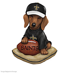 """""""Ruff And Tough"""" New Orleans Saints Dog Figurines"""