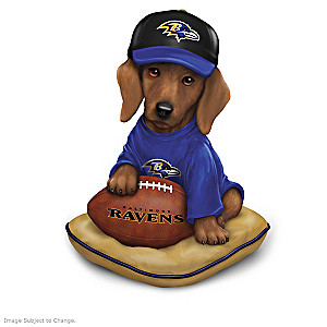 """Ruff And Tough"" Baltimore Ravens Dog Figurines"