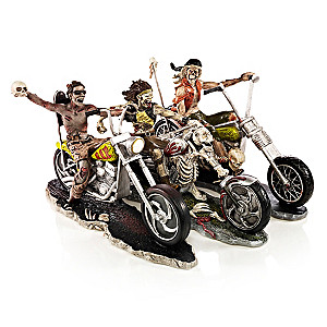 """The Riding Dead"" Zombie Biker Figurine Collection"