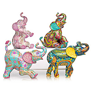 """Paisley Patterned"" Elephant Collection With Faux Gem Eyes"