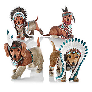 """Feathers 'N Fur"" Doxie Wild West Figurine Collection"