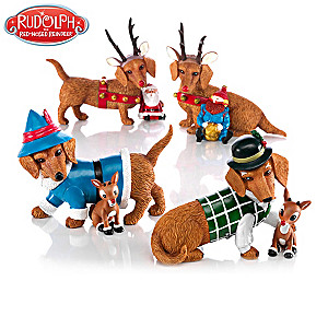 """Happy Howl-idays"" Dachshund Figurine Collection"