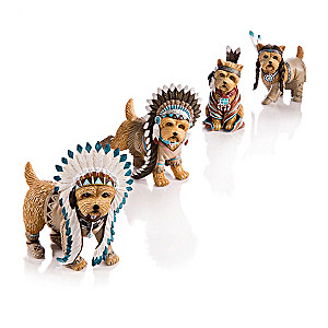 """Feathers 'N Fur"" Yorkie Wild West Figurine Collection"
